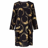 Louise Coleman Man In The Moon Gold Silk Ls Dress Black Gold