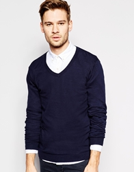 Asos V Neck Jumper In Cotton Navy