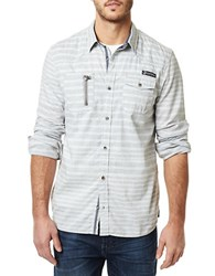 Buffalo David Bitton Long Sleeve Striped Shirt Silver