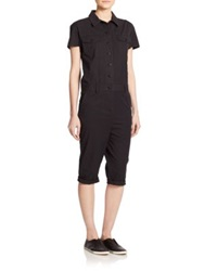 Marc By Marc Jacobs Cropped Stretch Cotton Jumpsuit Black