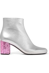 Saint Laurent Babies Metallic Leather Ankle Boots Silver