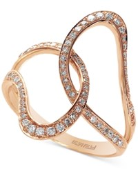 Effy Collection Pave Rose By Effy Diamond Interlocked Ring 1 3 Ct. T.W. In 14K Rose Gold