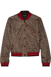R 13 R13 Leopard Print Shell Bomber Jacket