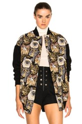 Stella Mccartney Cat Embroidered Bomber In Black Animal Print Black Animal Print