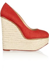 Charlotte Olympia Carmen Canvas Wedge Espadrilles Red