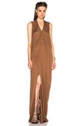 Rick Owens Silk Jersey V Neck Long Dress In Brown