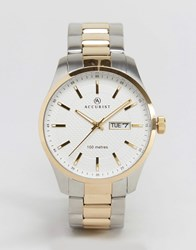 Accurist Mixed Metal Bracelet Watch With White Dial Gold Silver