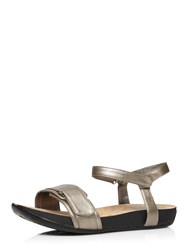 Evans Extra Wide Fit Pewter Adjustable Sandal Metallic