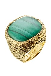 Aurelie Bidermann 18Kt Gold Plated Ring With Malachit Turquoise