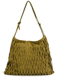 Ma Large Fringed Crossbody Bag Green