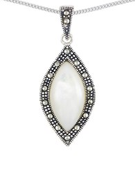 Lord And Taylor Mother Of Pearl Marquise Teardrop Pendant Necklace