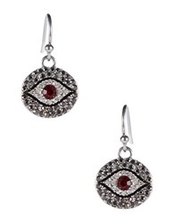 Theodora And Callum Evil Eye Pave Earrings Red
