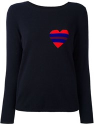 Chinti And Parker Striped Heart Logo Sweater Blue