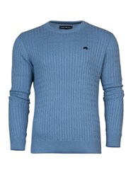 Raging Bull Crew Neck Cable Knit Sweater Sky Blue