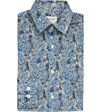 Duchamp Paisley Tailored Fit Cotton Shirt Blue