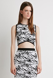 Forever 21 Abstract Pattern Crop Top White Black