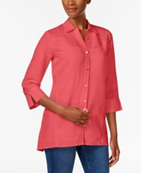 Jm Collection Linen Blend Shirt Only At Macy's Coral Tile