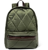 Casely Hayford Benton Leather Trimmed Quilted Shell Backpack Army Green