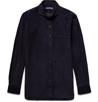 Thom Sweeney Slim Fit Cutaway Collar Cotton Corduroy Shirt Indigo