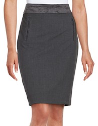 Karl Lagerfeld Faux Suede Trim Pencil Skirt Charbon