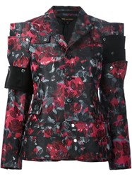 Comme Des Garcons Floral Print Structured Jacket Black