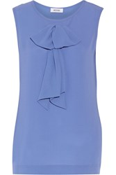 Moschino Bow Embellished Silk Top Blue