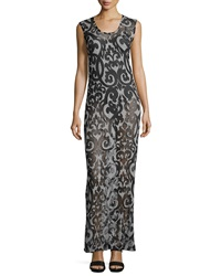 Norma Kamali Sheer Printed Scoop Neck Maxi Dress Dark Grey