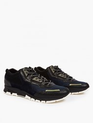Lanvin Navy And Black Suede Running Sneakers