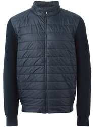 Z Zegna Padded Front Zip Sweater Blue
