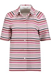 Agnona Striped Cotton Shirt Purple