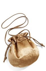 Cartel Drawstring Crossbody Pouch Metallic Gold Gold
