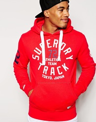 Superdry Overhead Hoodie With Superdry Track Print Red