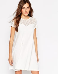 Vero Moda Swing Dress With Contrast Lace 3 4 Sleeves Snowwhite