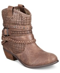 Naughty Monkey Not Rated Vanoora Perforated Ankle Booties Women's Shoes Taupe