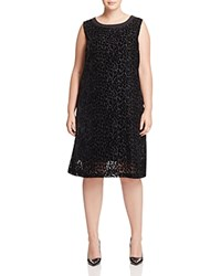 Marina Rinaldi Doppio Leopard Print Velvet Burnout Dress Black