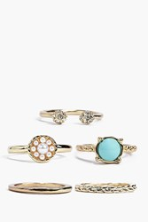 Boohoo Stone And Faux Pearl Ring Pack Gold