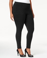 Styleandco. Style And Co. Plus Size Rhinestone Embellished Leggings Only At Macy's Deep Black
