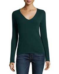 Neiman Marcus Cashmere V Neck Rolled Trim Sweater Holly