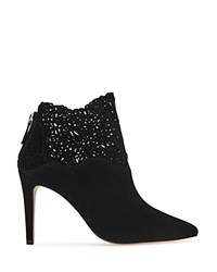 Reiss Peyton Lasercut Pointed Toe Booties Black