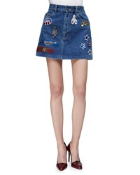Marc Jacobs Sequin Embroidered Denim Blue Mini Skirt With Mickey Mouse Size 28
