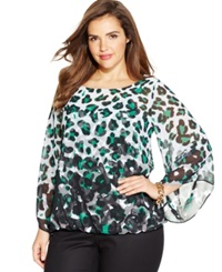 Alfani Plus Size Leopard Print Blouse Animal Ombre Green