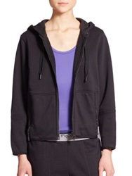 Adidas By Stella Mccartney Zip Up Organic Cotton Hoodie Black