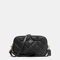 Coach Crossbody Clutch In Canyon Quilt Leather Light Gold Black