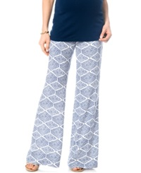 A Pea In The Pod Maternity Printed Wide Leg Soft Pants Navy Print