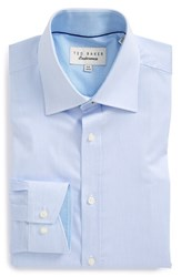 Men's Big And Tall Ted Baker London Trim Fit Micro Stripe Dress Shirt Light Blue