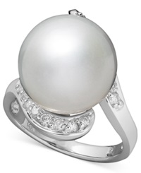 Macy's 14K White Gold Ring Cultured South Sea Pearl 13Mm And Diamond 1 3 Ct. T.W. Ring