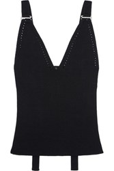 Calvin Klein Collection Ribbed Wool Blend Top Black