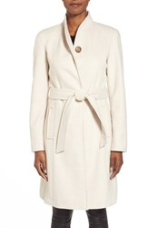 Women's Ellen Tracy Belted Wool Blend Stand Collar Coat Ivory