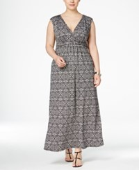 Ny Collection Plus Size Surplice Wrap Maxi Dress Grey Prism