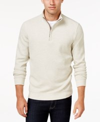 Tasso Elba Men's Honeycomb Textured Quarter Zip Sweater Only At Macy's Shortbread Heather